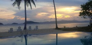 Swimming pool, pre-sunrise glows, beach, cagdanao island